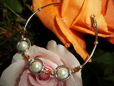 Hot Tibetan Silver Fashion White Glass Pearl & Tan Crystal Bead Bracelet S-14
