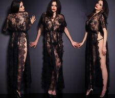 Sexy Babydoll Lingerie Chemise CAFTAN ROBE Evening Gowns High Slit Dress Set