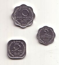 Sri Lanka set 3 monete fdc 2, 5 e 10 cents  km#138,139a,140a
