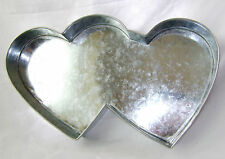 "NEW DOUBLE HEART SHAPE PROFESSIONAL CAKE PAN TIN 15"" X 7"" EUROTINS"