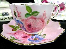 PARAGON TEA CUP AND SAUCER PINK TEACUP WITH PAINTED ROSES FLORAL PATTERN