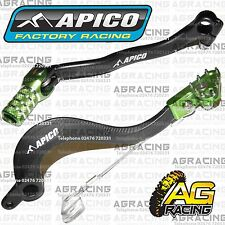 Apico Black Green Rear Brake & Gear Pedal Lever For Kawasaki KXF 250 2006-2008