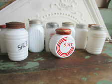 Lot of 10 Vintage Salt Pepper & Kitchen Shakers Milk Glass Ribbed Red Caps Pairs