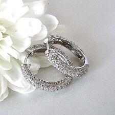Beautiful Inexpensive 925 Sterling Silver .50 Ct Genuine Diamond Hoop Earrings
