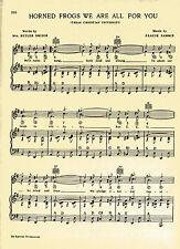 """Vtg TEXAS CHRISTIAN UNIVERSITY song sheet  """"HORNED FROGS"""" c 38s ~ FORT WORTH TCU"""