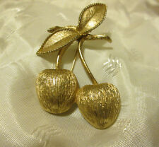 VTG '60s Cherry Brooch Pin Sarah Coventry Golden Cherries GUC