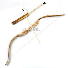 WOODEN BOW WITH 3 ARROWS AND QUIVER Kids Toy Wood Archery Bow for Hunting