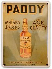 PADDY OLD IRISH WHISKY Small Metal Tin Pub Sign