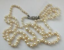 Antique Cultured Pearl Necklace Diamond Silver Clasp Chain