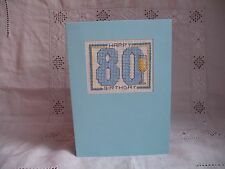 Handcrafted Cross Stitch 80th Birthday Card in Blue with Envelope