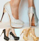 NEW Ladies Shimmer Diamante Rhinestone Party Platform High Heel Shoe Pumps Size