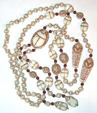 Long Art Deco VTG Max Neiger Egyptian revival Bead/Necklace Czech Glass Scarab