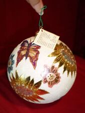 larry fraga glitter series round flowers and butterflies ornament