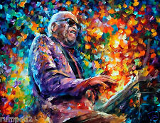 Music Poster/ Ray Charles/ 17x22/Jazz music/Colorful/ Painting /Reproduction