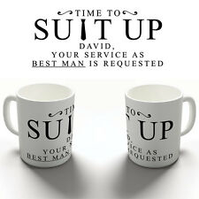 PERSONALISED SUIT UP BEST MAN REQUEST COFFEE MUG TEA CUP WEDDING STAG DO GIFT