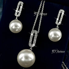 18K GOLD GF CRYSTAL EARRINGS STUD WHITE PEARL PENDANT NECKLACE SET