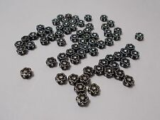 300pcs 7mm Acrylic FLOWER Spacer Beads BLACK  Laced with Silver Sparkles