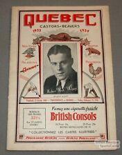 1933-34 Providence VS Quebec Beavers Program Wilson