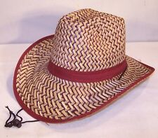 MAROON TRIM ZIG ZAG STRAW COWBOY HAT western items rodeo head wear hats HT150