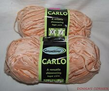 LOT OF 2 SENSATIONS CARLO YARN  - CARLO ORANGE-SHIMMERING TAPE YARN-120 YARDS EA