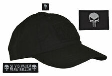 Made in USA Black Tactical Operator Hat w/ Punisher Skull 3pc w/ Fastener Patch