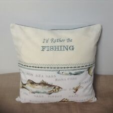 Handmade cushion cover, fish print fabric, machine embroidered, Dad, Grandad
