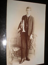 Old postcard boy trumpet by Percy Landon at Watford c1900s