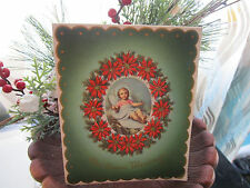 Vtg 1940's Vincentini Die Cut CAMEO CHRIST CHILD Chistmas Card Signed