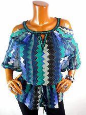 ECI Womens Top L SEXY Cold Shoulder Tunic Blouse Casual Shirt Green Blue