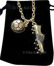 Gold Plated Football Necklace Ball Boot Pendant Chain Soccer