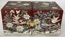 #1110  jewellery box mother of pearl inlaid lacquer auburn birds,flowers