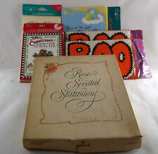 Vtg New Baby Christmas Halloween Rose Scented Stationary Invitatation Lot
