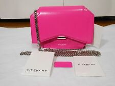 New Auth Givenchy $1390 Bow-Cut Leather Chain Wallet Shoulder Bag,Shocking Pink