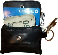 Women/men's mini leather Change Purse key ring Coin bag Mini Wallet, Black Case