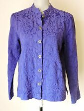 Additions Chico's Sz 1 = Womens 8 10 Solid Purple Jacket Embroidered Fall Casual