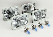 "FOUR 4x6"" Halogen Semi Sealed H4 Clear Projector Headlights Conversion w/ Bulbs"