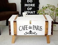Shabby chic vintage pine trunk coffee table storage blanket chest cafe paris