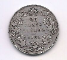 1930  Canada Silver Twenty-five Cent --Very Strong Crown Details!!