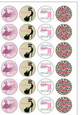 24 Precut Round 18th Birthday Girl Edible Wafer Rice Paper Cupcake/Cake Toppers