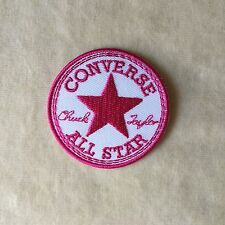 CONVERSE STAR LOGO EMBROIDERY IRON ON PATCH BADGE #WHITE WITH HOT PINK