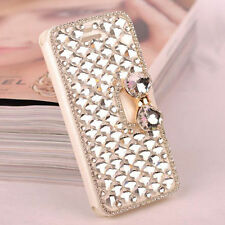 Bling Diamond Rhinestone Bow Wallet PU Leather Stand Case Cover For Samsung S001