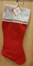 "Lot of 10 - 18"" Red/White Felt Holiday Time Christmas Stocking"