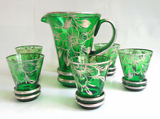 Antique Art Nouveau Green Glass Sterling Silver Overlay Pitcher & 6 Glasses SET