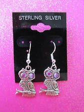 925 Sterling Silver Purple Eyed Owl Dangle Earrings