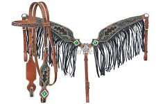 Western Headstall & Fringed Breastcollar - Green Beaded - Glittered - Crystals