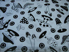2.6 Yards Quilt Cotton Fabric- RJR What's Bugging You Black White Mushrooms Wht