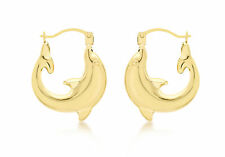 9ct Yellow Gold Dolphin Creole Earrings Solid Gold Box Gift Jewellery