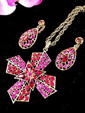 DAZZLING GOLDTONE NECKLACE RUBY RED RHINESTONE MALTESE CROSS PENDANT EARRING SET