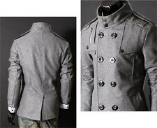 US Seller Military Style Peacoat Casual Slim Fit Double Breasted Overcoat PK71
