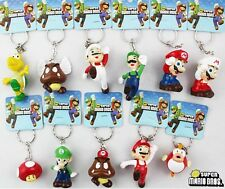 New 1 Set 11 pcs lovely Super Mario Key Chain Key Ring KEY Charms Phone Charm
